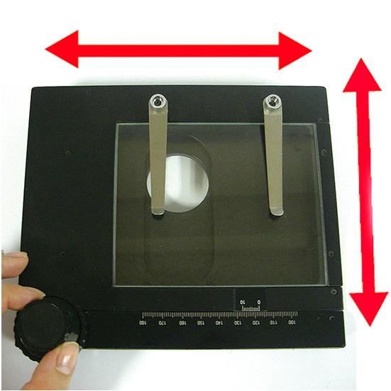 簡易XYテーブル 透過照明スタンド対応タイプ  (天板:ガラス)